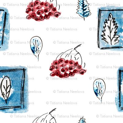 Blue winter gouache leaves like stamps in pen frames