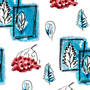 Winter gouache leaves like stamps in pen frames