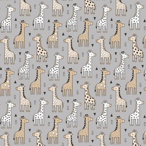 Giraffe Geometric and Triangles in Black&White Beige on Grey Smaller Tiny 1,5 inch