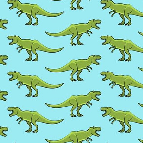 t-rex  - dinosaur  on blue