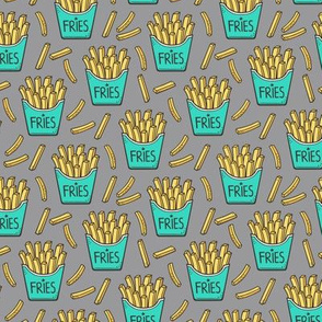 French Fries Fast Food Green Mint on Grey Smaller Tiny 1,5 inch