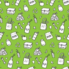 zero waste pattern green