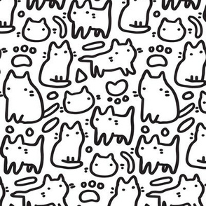 Doodle cute kitty cats funny pattern