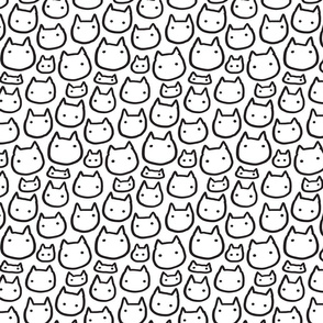 Doodle kitty cats heads pattern