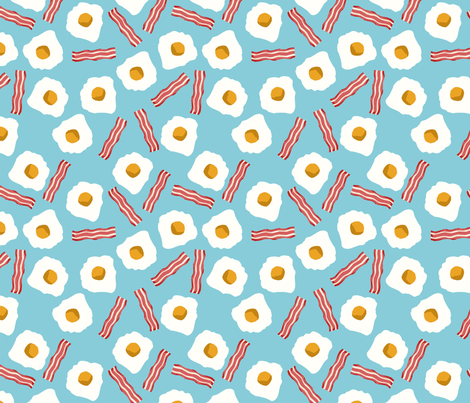 eggs and bacon breakfast food fabric medium blue fabric by charlottewinter on Spoonflower - custom fabric