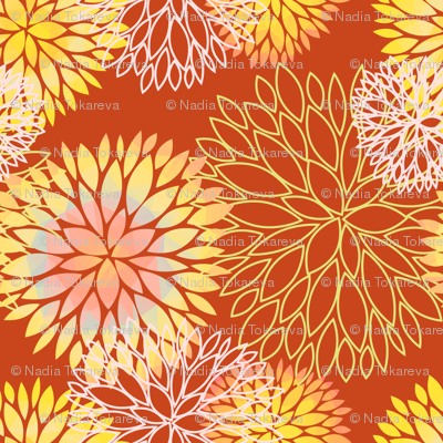Red and Rainbow Autumn flowers pattern