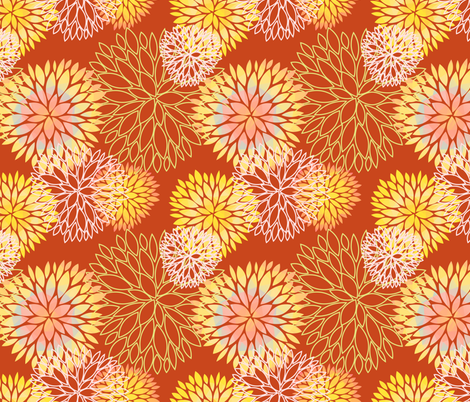 Red and Rainbow Autumn flowers pattern fabric by nadia_to_art on Spoonflower - custom fabric