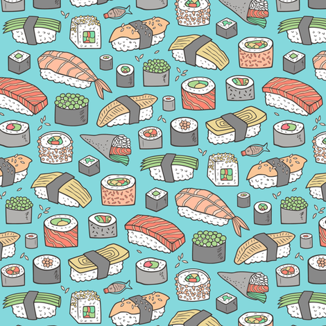 Sushi on Blue Smaller Tiny 1,5 inch fabric by caja_design on Spoonflower - custom fabric