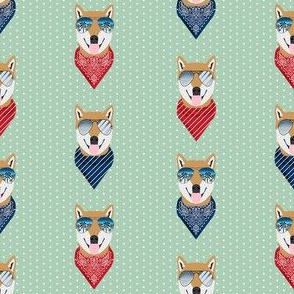 shiba inu summer sunglasses dog breed fabric mint