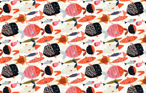 Marine Commute M+M Red by Friztin fabric by friztin on Spoonflower - custom fabric