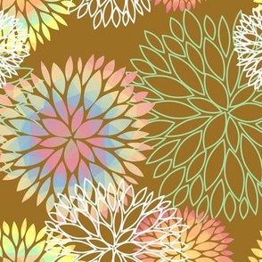 Rainbow Spring Flowers Pattern - Abstract Peonies On Mustard Yellow Background