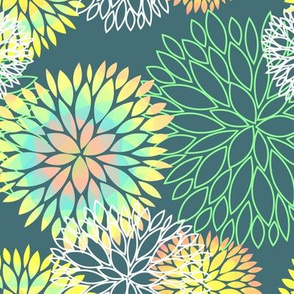 Rainbow Spring Flowers Pattern - Abstract Peonies On Teal Blue Background