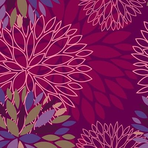 violet & purple autumn flowers pattern