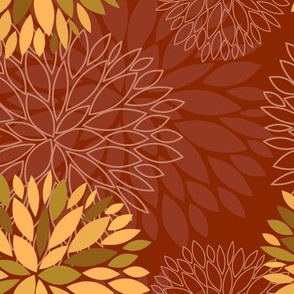 Red and Orange Autumn flowers pattern