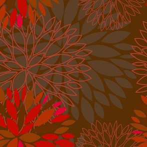 Red and Grey Autumn Flowers pattern