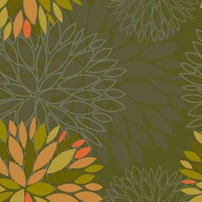 Orange, Green and Brown Autumn flowers pattern