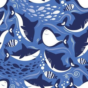 Friendly sharks // indigo blue background navy and white sharks