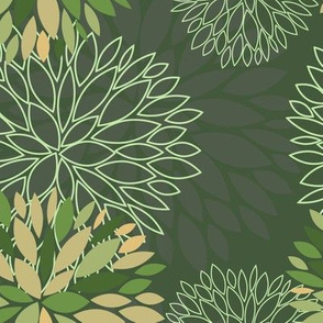 Green Spring Flowers Pattern - Abstract Peonies On Grey Background