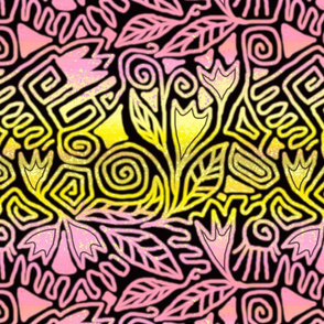 secret garden abstract pink yellow flowers