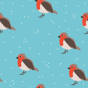 Winter wonderland red robin birds in snow orange blue gendwr neutral
