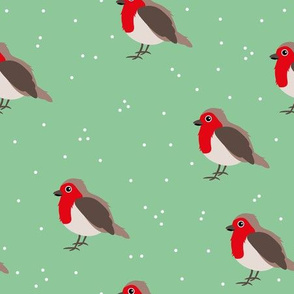 Winter wonderland red robin birds in snow mint red gender neutral