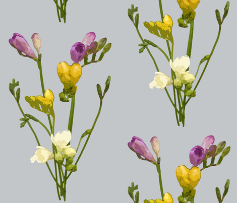 Freesias  fabric by therhubarbtree on Spoonflower - custom fabric