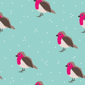 Winter wonderland red robin birds in snow pink blue