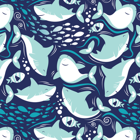 Friendly sharks // navy background aqua and white sharks fabric by selmacardoso on Spoonflower - custom fabric