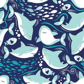 Friendly sharks // navy background aqua and white sharks