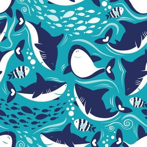 Friendly sharks // teal background navy and white sharks