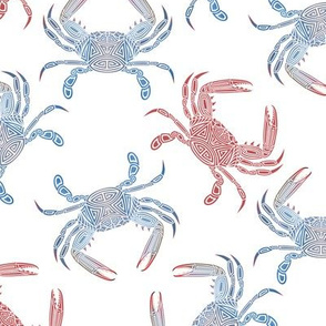 Small Tribal Blue Crab Mixed on White