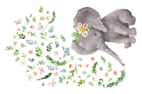 "27""x18"" / 4 to 1 Yard of Minky / Spring Time Floral Baby Elephant fabric by shopcabin on Spoonflower - custom fabric"