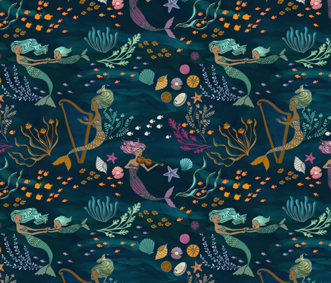 Mermaid Music fabric by ceciliamok on Spoonflower - custom fabric