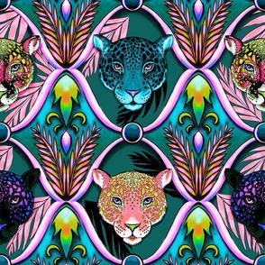 neon jaguars ogee in after dark