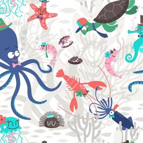 Animals of the Ocean happy cartoon by unPATO