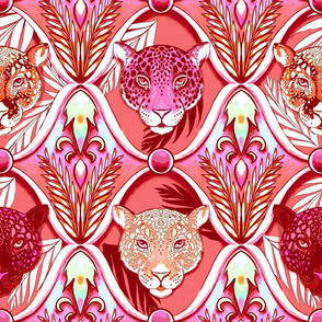 jungle jaguars ogee in vintage coral decadence