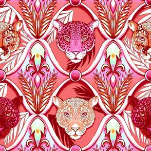 jungle jaguars ogee in vintage coral decadence