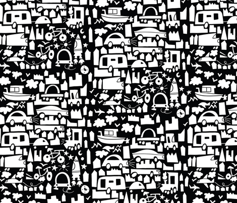 More than 4 wheels in black and white fabric by natalia_gonzalez on Spoonflower - custom fabric