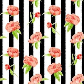 Watercolour floral black stripe