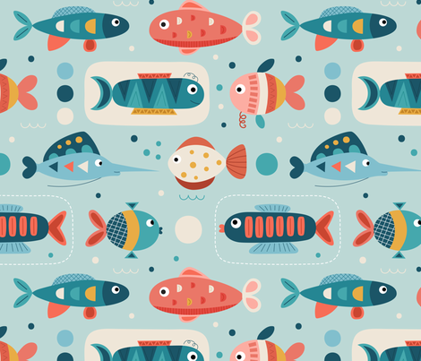 Fishes fabric by la_fabriken on Spoonflower - custom fabric