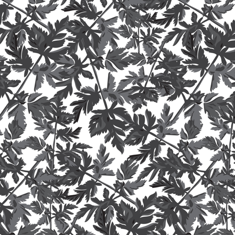 Leaf Leaves Black White Gray Grey  Tree Neutral Home Decor _ Miss Chiff Designs  fabric by misschiffdesigns on Spoonflower - custom fabric