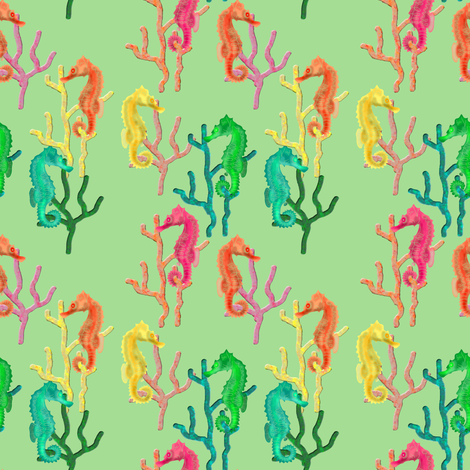 Seahorses fabric by eclectic_house on Spoonflower - custom fabric