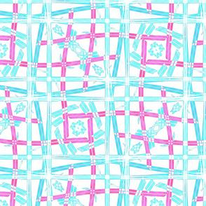 Pink teal lines