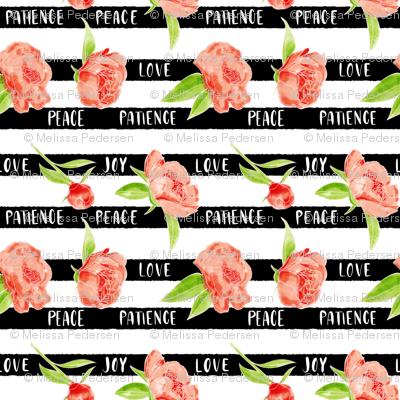 """Floral """"love,  joy, peace & patience"""" stripes"""