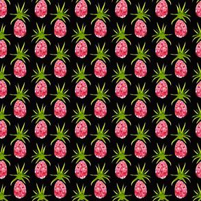 Pinky Pineapples in Watercolor on Black