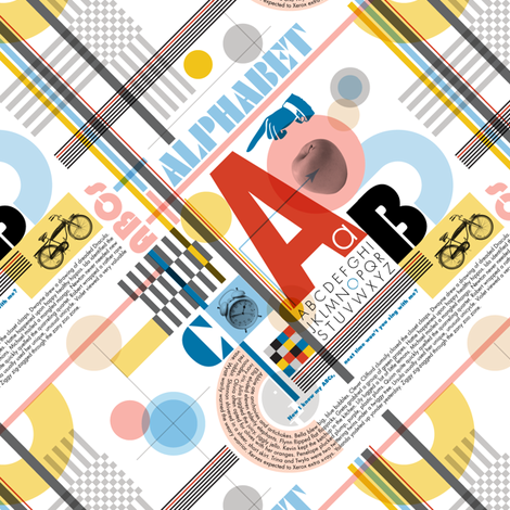 ABC (Alphabetic Bauhaus Composition)* || primary colors typography geometric 20s 30s 1920s 1930s weimar circles check letters red yellow blue fabric by pennycandy on Spoonflower - custom fabric