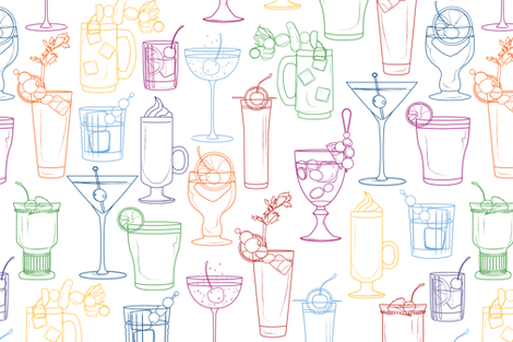 Cocktail Party White fabric by markaddison on Spoonflower - custom fabric