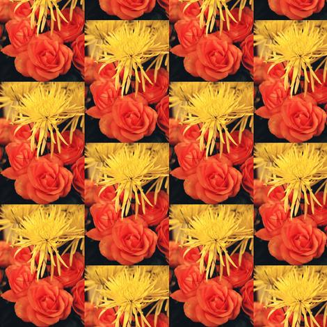 YellowMumsOrangeRoses--half-drop fabric by karenspix on Spoonflower - custom fabric