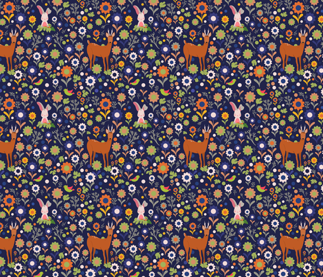 In the Meadow Together - Rust fabric by curtis_mcgintus on Spoonflower - custom fabric