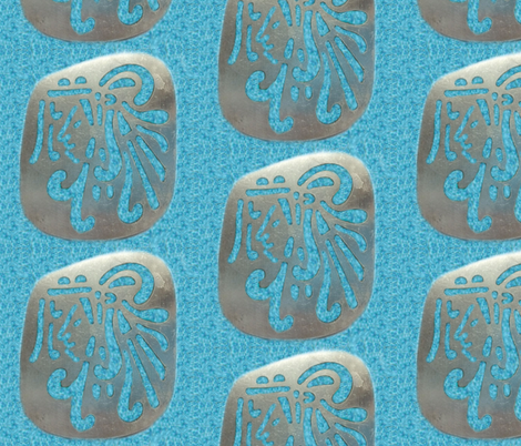 Native American Aztec Warrior on Turquoise fabric by fabric_is_my_name on Spoonflower - custom fabric